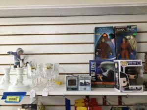 Westmoreland candle stick holders, six RCR goblets, Star Trek items, Indiana glass and carnival glass relish trays.