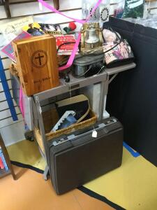 Smith Corona 2200 electric typewriter, Tiffany typewriter stand, Holy Bible dresser box with bible, basket, John Wayne plate, Elvis flag, viewfinder reels