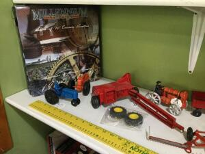 JD yardstick, die cast and plastic tractors, wooden cars, iron tractor, Millennium Classics Milestones of Modern Farming