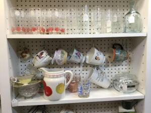 Coffee mugs, etched drinking glasses, pink depression sherbets, pitchers, glass baby bottles, vintage wine bottles