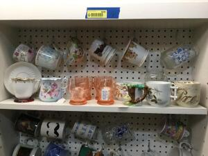 Coffee mugs, pink depression glasses, china