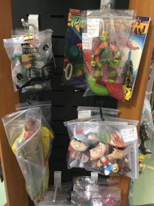 GI Joe action figures, gum ball machine toys, Bobby's World, Ertl Wrangler cowboy and more