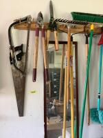 Yard tools-hedge trimmer, loppers, push broom, electric leaf blower See photos