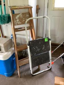 4' wood step ladder and Cosco step stool