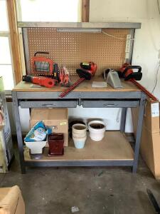 Two drawer workbench Measures 4' x 2' x 5' Contents not included other than what is shown IN drawers