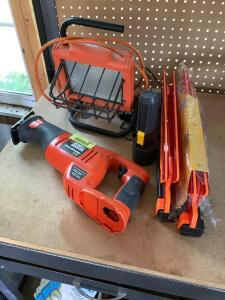 Regent work light, flashlight, Black & Decker Firestorm 14.4V Model CRS144 (no battery), two warning triangles