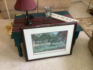 "Sofa table measures 42 x 26 x 18, 5' swing arm floor lamp, table lamp, decor and signed/numbered ""Springtime in the Arboretum"" by David Gill 58/200"
