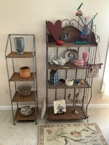 Two wicker and metal shelves with all decor and two area rugs. Shelves measure 14 x 12 x 52 and 25 x 12 x 60. Rugs measure 2' x 3'