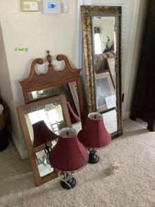 3 mirrors and two lamps Tall mirror measures 19 x 55, dresser mirror measures 22 x 42 and wall mirror measures 17 x 28