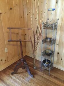 "Wonderful antique pine music stand adjusts up to 48"" tall, 4 shelf wicker/wrought iron 45"" x 9"" stand, cane floral decor, pottery"