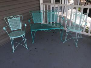 Fantastic metal chairs and love seat in classic mint green