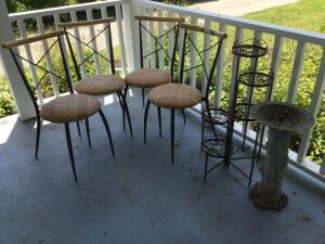 "Four wicker style patio chairs, 32"" foldable plant stand, pedestal w/ sundial (they aren't really meant to be together)"