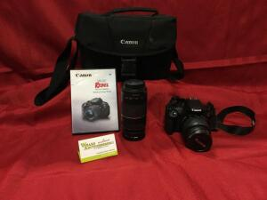 Canon EOS Rebel T5 digital camera w/ EFS 18-55mm lens attached, zoom lens 75mm-300mm, bag,See photos