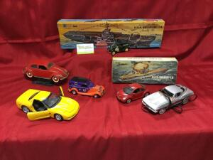Ertl 2003 Chevy Corvette, Solido VW1949, Maisto Beetle, Liberty Classics 1934 Ford, National Motor M