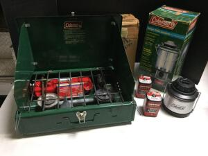 Camping gear; Coleman small & large lanterns, camp stove, 6V batteries. See Photos