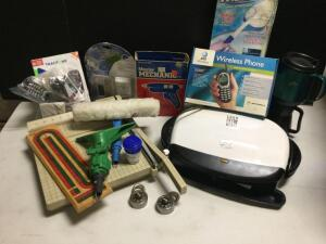 George Foreman grill, Boston paper cutter, knee pads, cribbage board, Tracfones, glue gun & more!