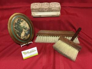 Crumb sweepers, wall hanging musical player Made in Switzerland and scrimshaw set