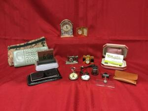 Clock miniatures, watch repair magnifiers, ladies wallets, pocket watches, Stereoscope. See photos.