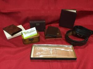 Coach,Justin Fine Leather, Prince Gardner wallets, leather belts, jewelry box, date book. See Photos