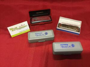 Hohner harmonicas: Special 20 Marine Band, Golden Melody, Bluesband