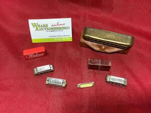 Hohner Little Lady mini harmonicas, Clover harmonicas in the key of G, pin.