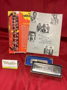Hohner Echo Harp, The Art of Playing Hohner Chromatic Harmonicas leaflet, How to Play Harmonica book