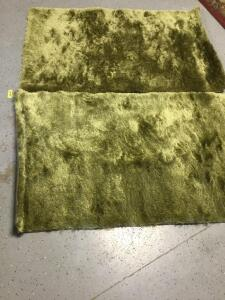 Two matching Pier One green shag rugs Measure 3 x 5. Really soft!!!