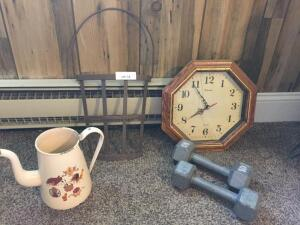 Hand Weights, Clock (front Broken), Metal Basket wall hanging, pot