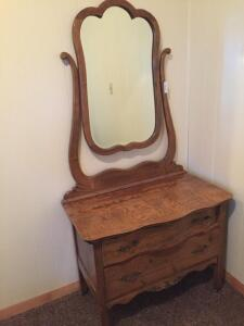 Antique Oak 2 drawer dresser with mirror, 35wx20dx69h