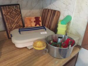 Plastic ware, cutting boards, angel food cake pan, cookie cutters