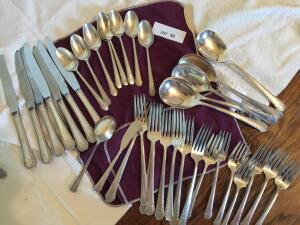 "Hallmark Sterling & (Ballad) with initial ""W', 7 each knives & salad forks, 5 large spoons, 8 each teaspoons & forks, butter knife"