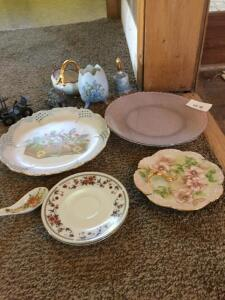 Hand Painted plates, bell, cast car, dishes