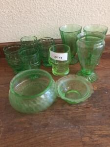 Green Depression glasses, two bowls (both chipped)