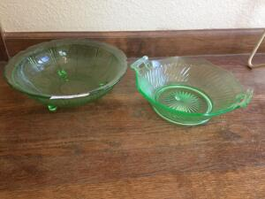 "10 1/2"" Green Depression footed bowl, 8 1/2"" bowl (blemish in glass on bottom)"