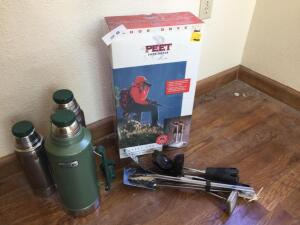 Peet Shoe Dryer, Stanley & other thermoses, grill tools, kitchen utensils, meat thermometer