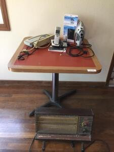 Table 30x30, Iron, Blood Pressure Monitor, Fellows Shredder Top, power strip, Phone, space heater