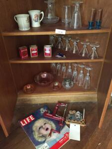 Old Spice Cans, carnival glass bowls, life magazine, apple corer, glassware