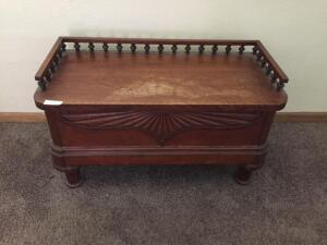 Antique Oak Chest with Tray (some damage to top) 41x19x22