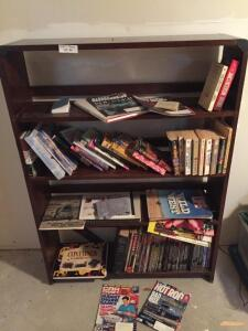 Bookshelf with books - 36x9 1/2x49 1/2, Books are Hot Rod, Car Craft, Gardening and others