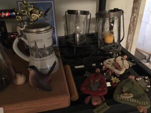 Wood Board, Trophy's, Kerr Jar Candle Holders, Plates, birds & more