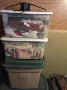 Four Totes of Christmas decorations and stand