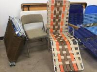Folding chair, cot with pad, Lounge chairs