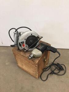 "Skilsaw 6 1/2"" power saw, Black and Decker 3/8"" drill-both work, wood storage box"