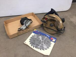"Skilsaw-no cord, drill-works-cord is taped, new 7 1/4"" Saw blades"