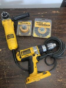 DeWalt DC988 cordless drill without battery, DeWalt DW818 4 1/2 inch angle grinder with wire wheels