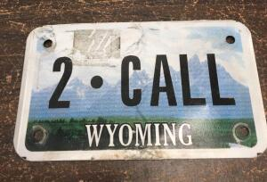 Wyoming motorcycle license plate 2-CALL