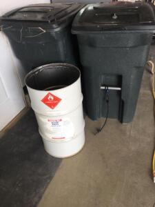 Two roller trash cans, 30 gallon metal trash can