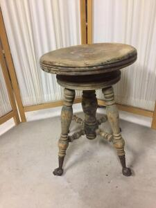 Antique player piano stool, missing one glass ball foot