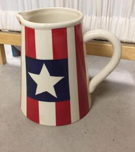 "7 1/2"" red, white and blue pitcher"