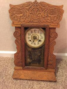 The New Haven Clock Co. (Glass is separate and just needs put in, gold etched)15 x 23, no key